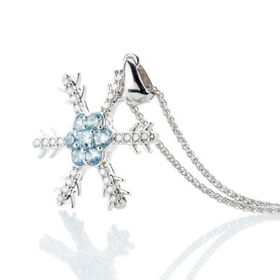 Heidi Kjeldsen Exquisite Pale Blue Natural Aquamarine Brillant Cut Diamond And Snowflake Pendant - P1237-01-1