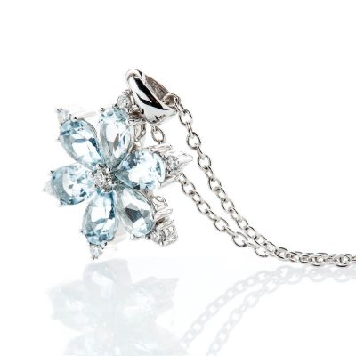 Heidi Kjeldsen Exquisite Pale Blue Natural Aquamarine Brillant Cut Diamond And Snowflake Pendant - P1240-02-2