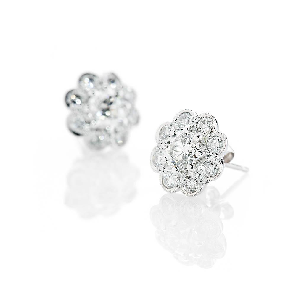 Heidi Kjeldsen Glorious Brilliant Cut Natural Diamond And Gold Cluster Earrings - ER1379-1