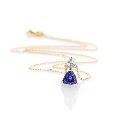 Heidi Kjeldsen Glorious Deep Purple Blue Natural Tanzanite Brilliant Cut Diamond And Gold Pendant P1140 + Y18TR162.3-1