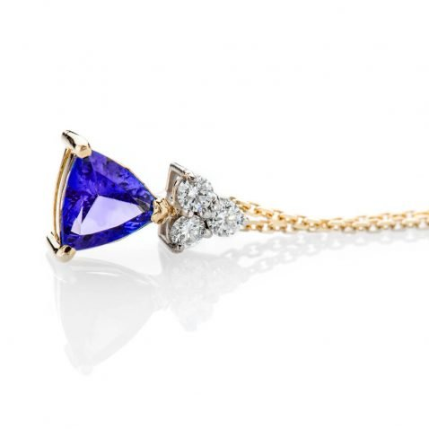 Heidi Kjeldsen Glorious Deep Purple Blue Natural Tanzanite Brilliant Cut Diamond And Gold Pendant P1140 + Y18TR162-2
