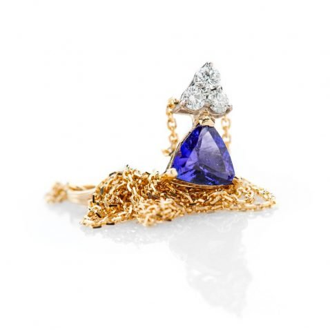 Heidi Kjeldsen Glorious Deep Purple Blue Natural Tanzanite Brilliant Cut Diamond And Gold Pendant P1140 + Y18TR162-3