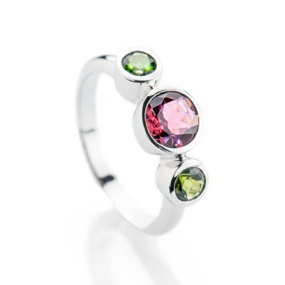 Heidi Kjeldsen Glorious Pink And Green Natural Tourmaline And Gold Cocktail Or Dress Ring - R1328-2