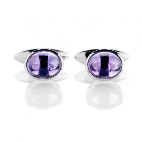 Heidi Kjeldsen Modern Deep Purple Natural Amethyst And Sterling Silver Cufflinks - CL288-1