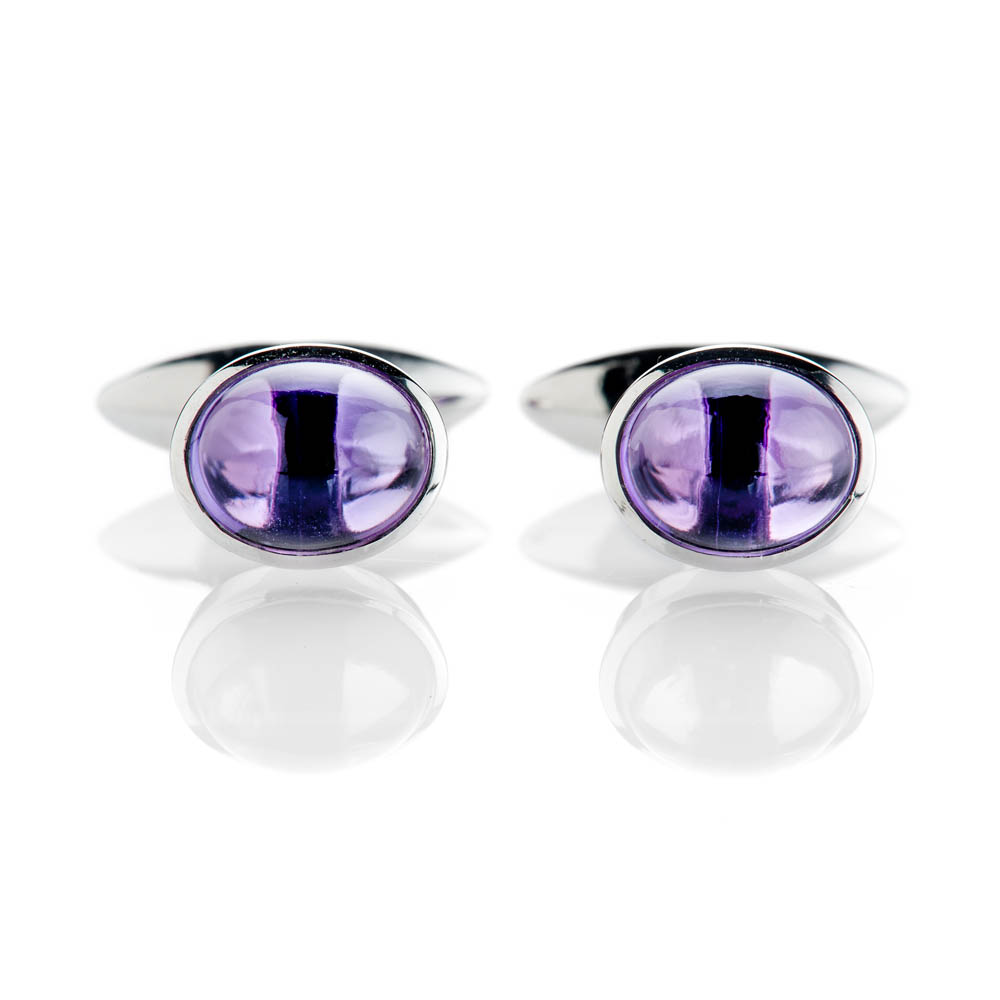 Modern Deep Purple Natural Amethyst And Sterling Silver Cufflinks