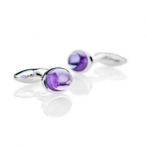 Heidi Kjeldsen Modern Deep Purple Natural Amethyst And Sterling Silver Cufflinks - CL288-2