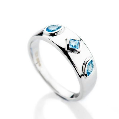 Heidi Kjeldsen Modern Medium Blue Aquamarine and Gold Cocktail Or Dress Ring - R1331-2