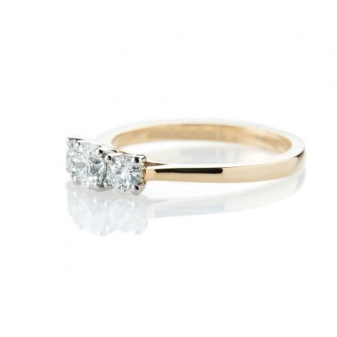 Heidi Kjeldsen Scintillating Brilliant Cut Natural Diamond Platinum And Gold Engagement Trilogy Ring - R1320-1