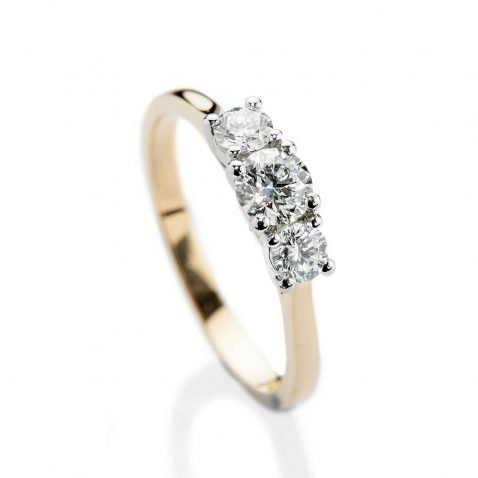 Heidi Kjeldsen Scintillating Brilliant Cut Natural Diamond Platinum And Gold Engagement Trilogy Ring - R1320-2
