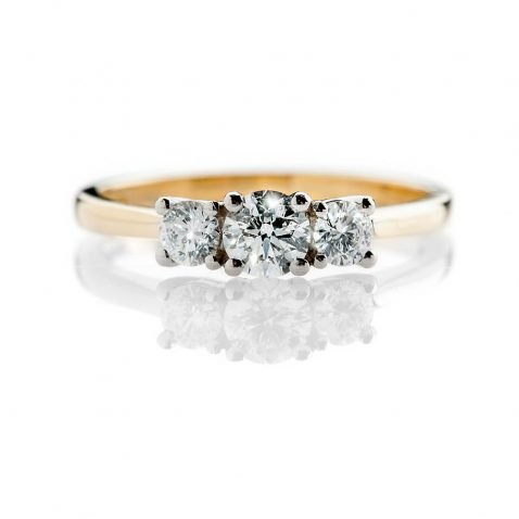Heidi Kjeldsen Scintillating Brilliant Cut Natural Diamond Platinum And Gold Engagement Trilogy Ring - R1320-3
