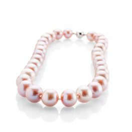 Heidi Kjeldsen Striking Lustrous Pink Natural Cultured Pearl Brilliant Cut Diamond And Gold Necklace - NL1204-1