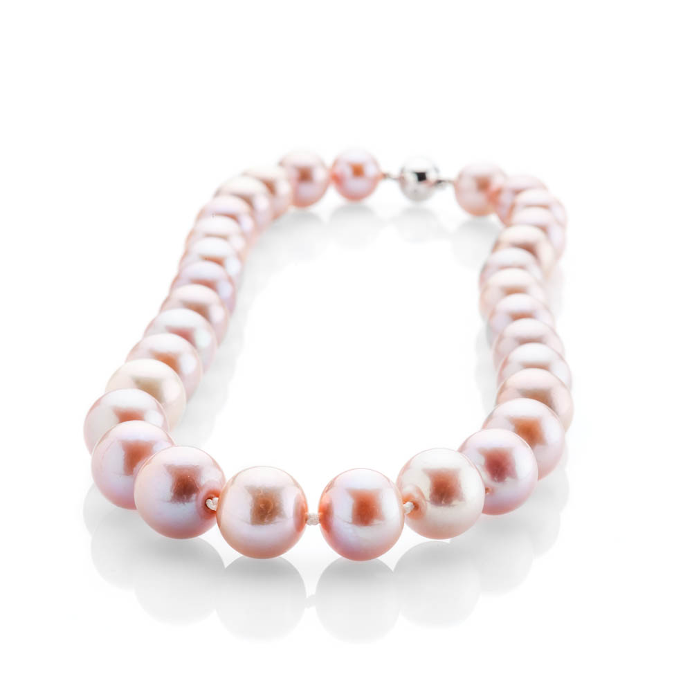 Striking Lustrous Pink Natural Cultured Pearl, Brilliant Cut Diamond And Gold Necklace