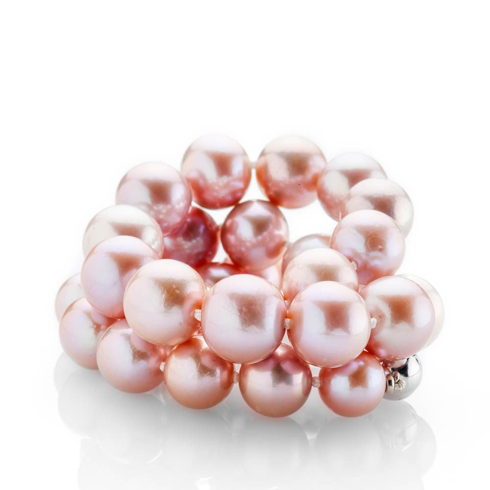 Heidi Kjeldsen Striking Lustrous Pink Natural Cultured Pearl Brilliant Cut Diamond And Gold Necklace - NL1204-2a