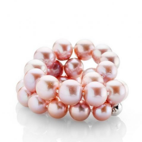 Heidi Kjeldsen Striking Lustrous Pink Natural Cultured Pearl Brilliant Cut Diamond And Gold Necklace - NL1204-2a