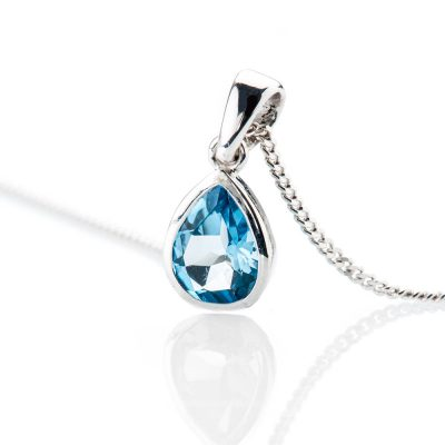 Heidi Kjeldsen Striking Swiss Blue Enhanced Natural Topaz And Gold Pendant - P1238-2