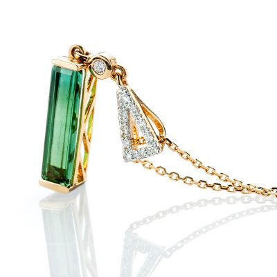Heidi Kjeldsen Stunning Green Natural Tourmaline Brillant Cut Diamond Pendant - P1235-2