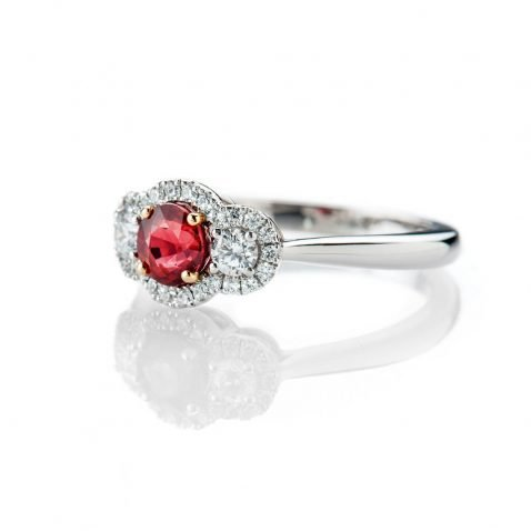 Heidi Kjeldsen Stunning Intense Red Natural Ruby Brillant Cut Diamond And Gold Cocktail Or Dress Ring - R1203-1