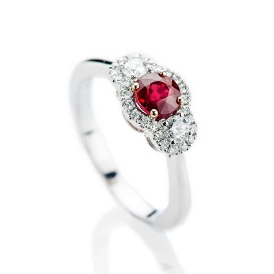Heidi Kjeldsen Stunning Intense Red Natural Ruby Brillant Cut Diamond And Gold Cocktail Or Dress Ring - R1203-2