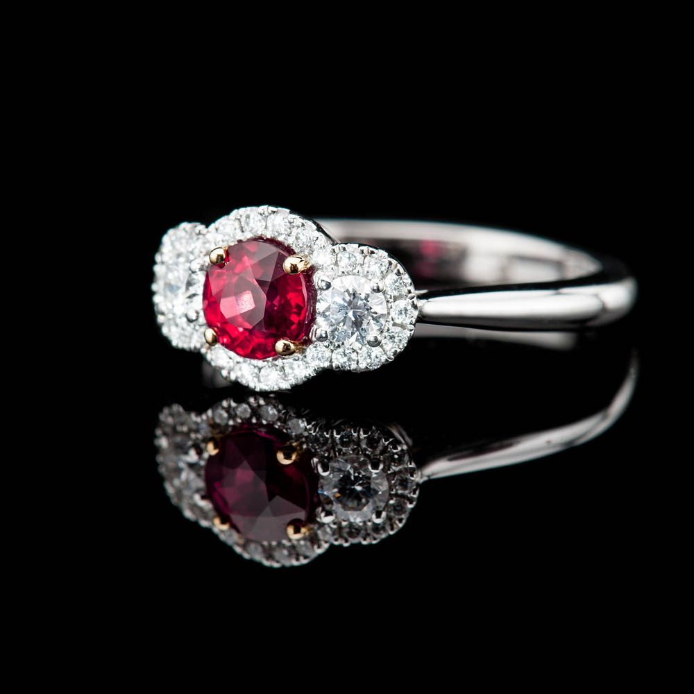 Heidi Kjeldsen Stunning Intense Red Natural Ruby Brillant Cut Diamond And Gold Cocktail Or Dress Ring - R1203-4