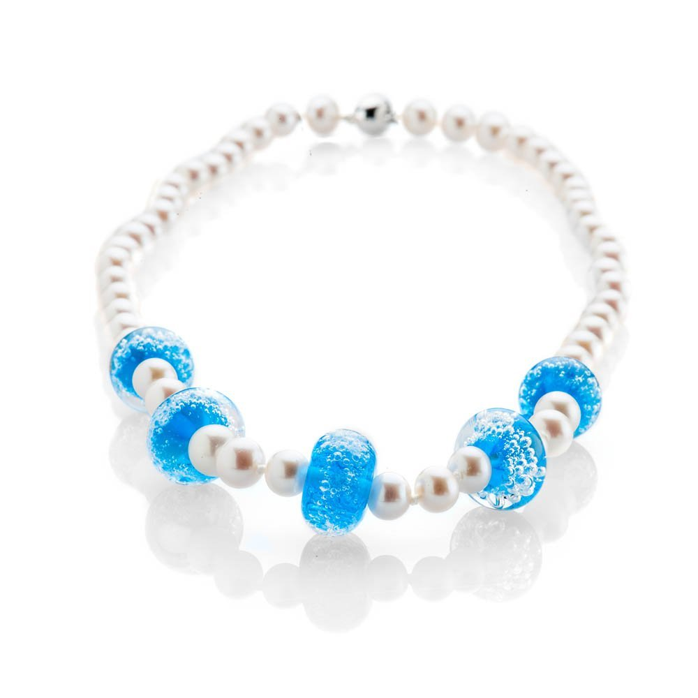 Stylish Blue Murano Glass, White Natural Cultured Pearls And 9ct white Gold Necklace