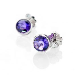 Heidi Kjeldsen Stylish Deep Purple Natural Amethyst Brilliant Cut Diamond And Gold Earstuds - ER2078-1