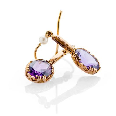 Heidi Kjeldsen Stylish Deep Purple Natural Amethyst Cultured Pearls And Gold Drop Earrings - ER1602-3