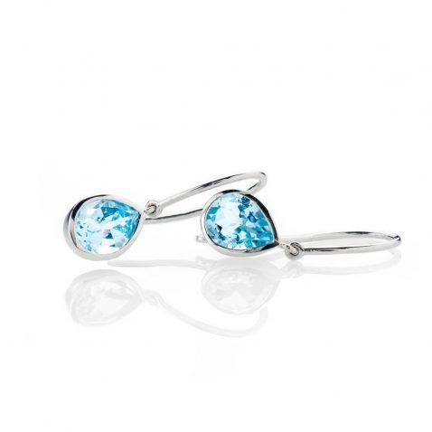 Heidi Kjeldsen Stylish Enhanced Sky Blue Natural Topaz And Gold Drop Earrings - ER2363-2