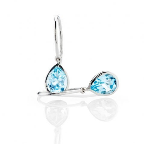 Heidi Kjeldsen Stylish Enhanced Sky Blue Natural Topaz And Gold Drop Earrings - ER2363-3