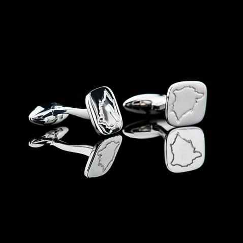 Heidi Kjeldsen Stylish Map Of Rutland Sterling Silver Cufflinks - CL289-2