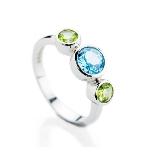 Heidi Kjeldsen Sumptuous Blue Enhanced Natural Topaz Green Peridot and Gold Cocktail Or Dress Ring R1330 - 2