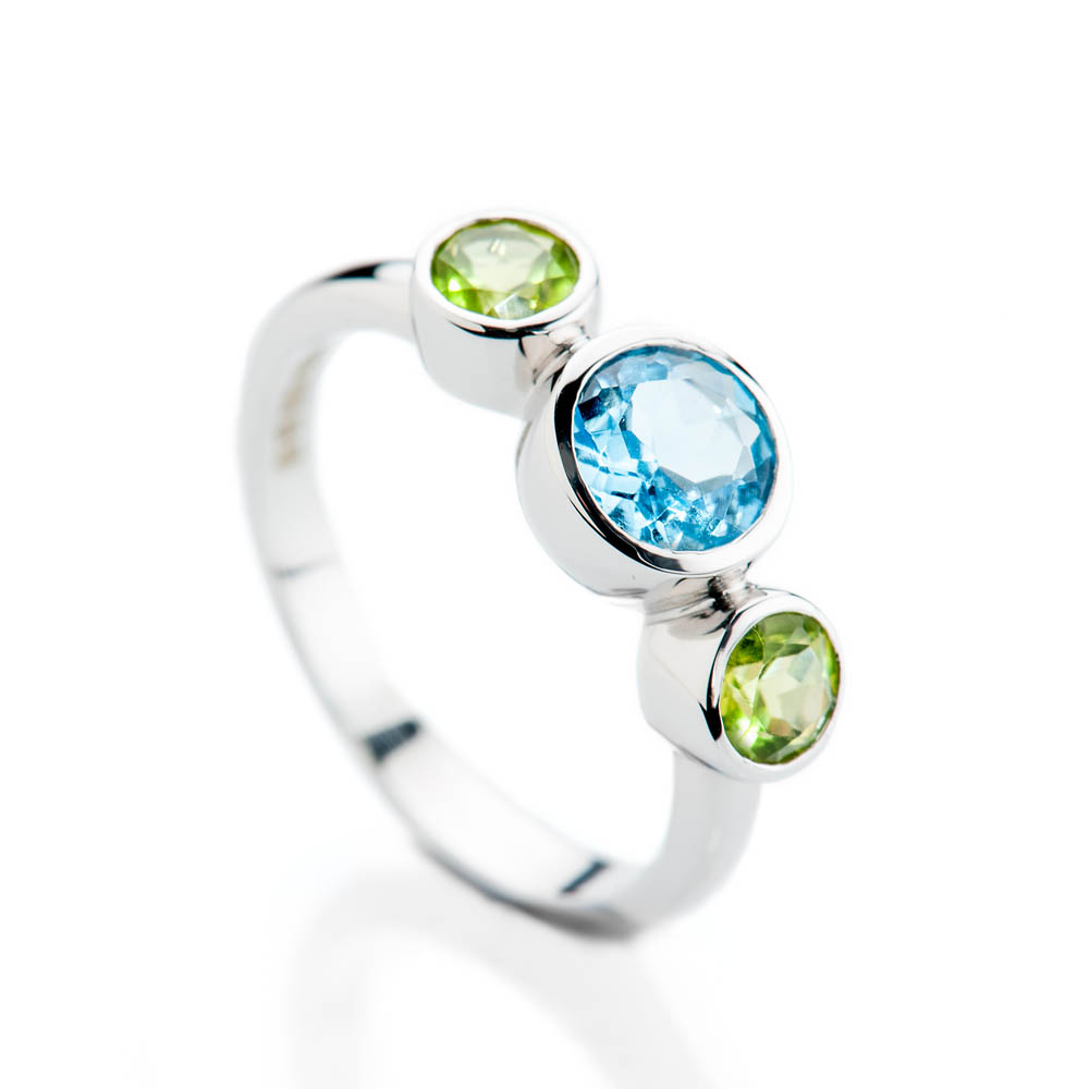 Sumptuous Enhanced Blue Natural Topaz, Green Peridot And Gold Cocktail Or Dress Ring