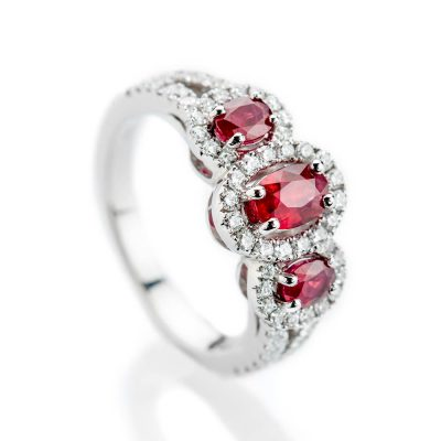 Heidi Kjeldsen Sumptuous Deep Red Natural Ruby Brillant Cut Diamond And Gold Triple Cluster Engagement Or Dress Ring - R1202-2