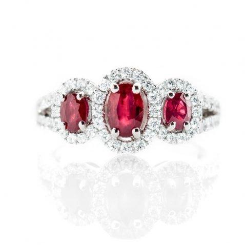Heidi Kjeldsen Sumptuous Deep Red Natural Ruby Brillant Cut Diamond And Gold Triple Cluster Engagement Or Dress Ring - R1202-3