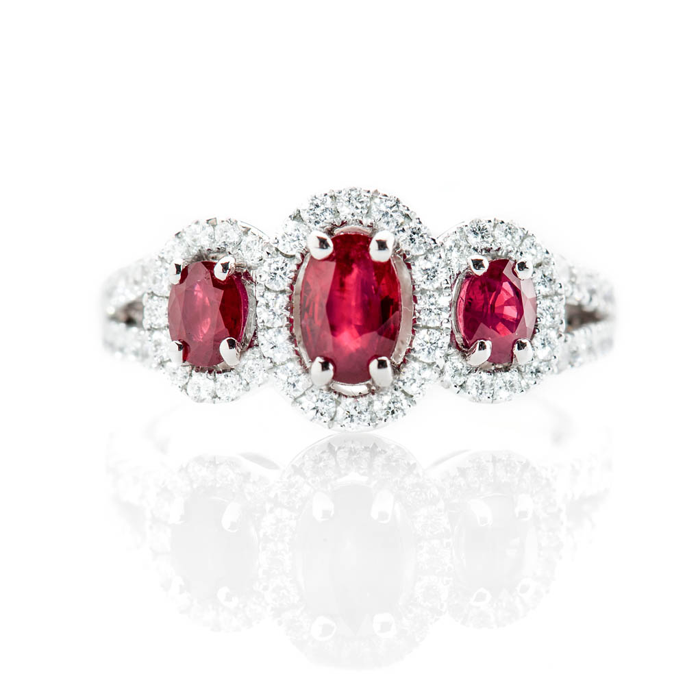 Heidi Kjeldsen Sumptuous Deep Red Natural Ruby Brillant Cut Diamond And Gold Triple Cluster Engagement Or Dress Ring - R1202-3