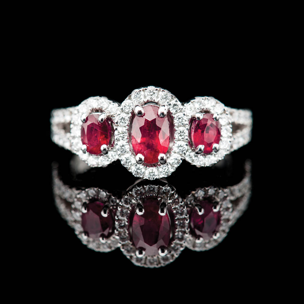 Heidi Kjeldsen Sumptuous Deep Red Natural Ruby Brillant Cut Diamond And Gold Triple Cluster Engagement Or Dress Ring - R1202-4