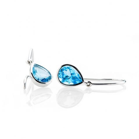 Heidi Kjeldsen Vibrant Swiss Blue Enhanced Natural Topaz And Gold Drop Earrings - ER2361-2