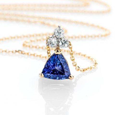 Heidi Kjeldsen Glorious Deep Purple Blue Natural Tanzanite Brilliant Cut Diamond And Gold Pendant P1140 Front