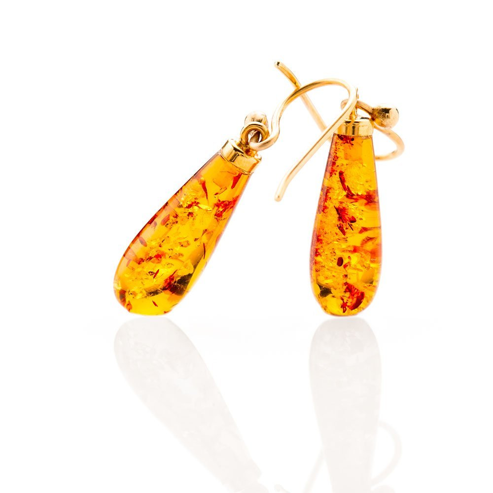 Beautiful Natural Amber And Gold Drop Earrings