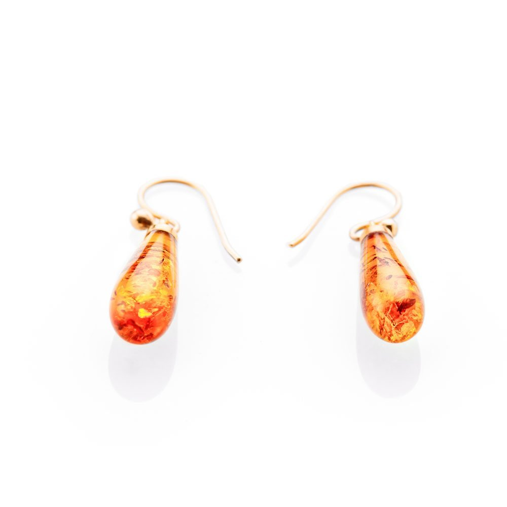 Beautiful Natural Amber And Gold Drop Earrings - ER2367-3 Heidi Kjeldsen