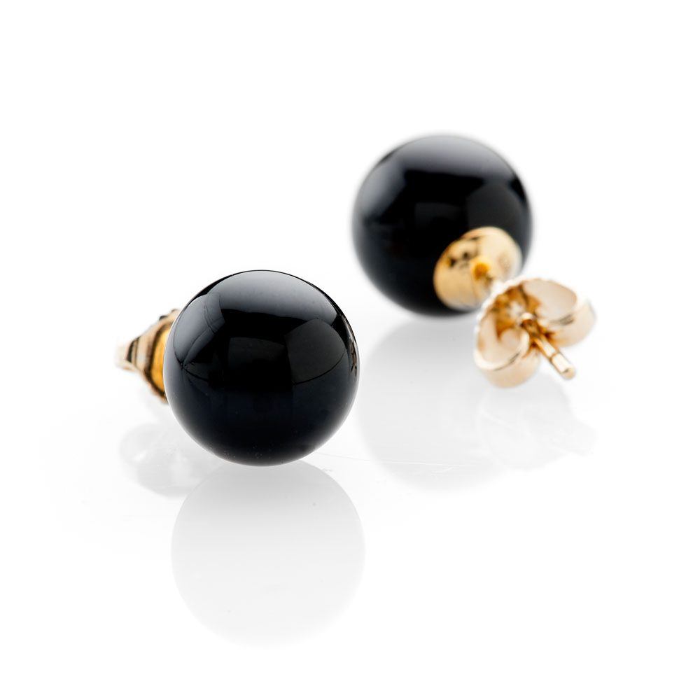 Chic Natural Black Onyx and Gold Earstuds - ER2368-1 Heidi Kjeldsen