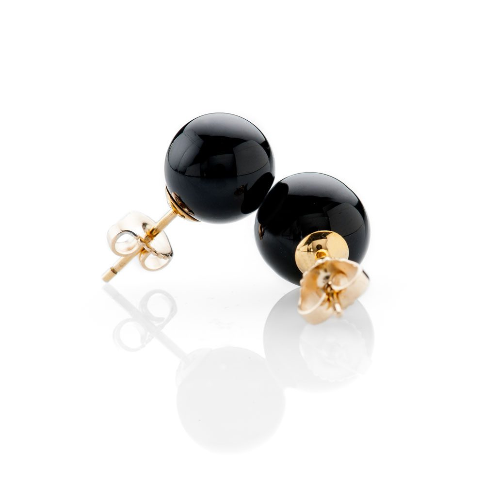 Chic Natural Black Onyx and Gold Earstuds - ER2368-2 Heidi Kjeldsen