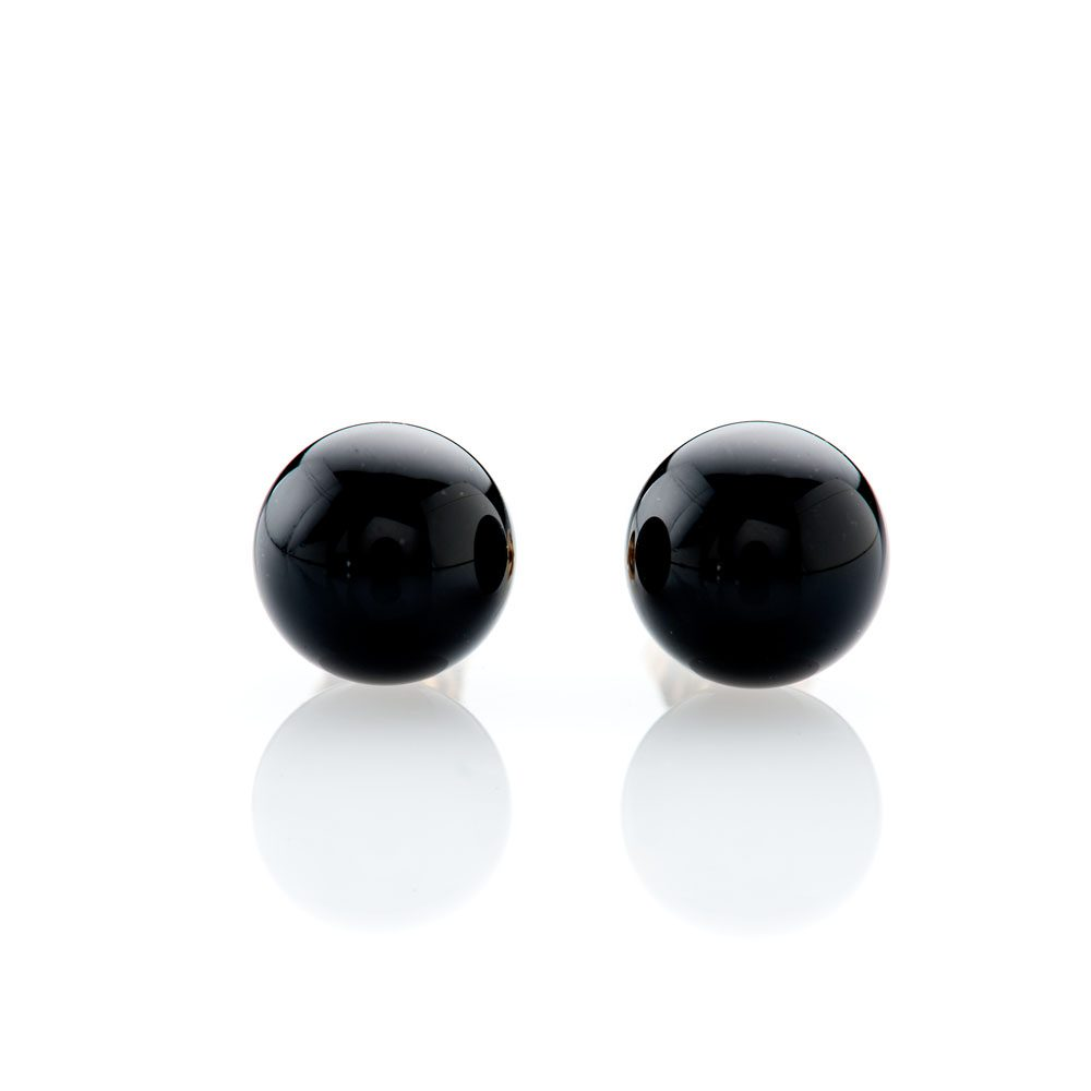 Chic Natural Black Onyx and Gold Earstuds - ER2368-3 Heidi Kjeldsen