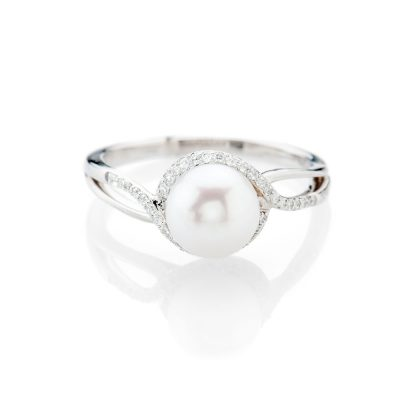 Delicate Natural Cultured Pearl And Diamond Dress Ring - R1335-1 Heidi Kjeldsen