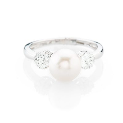 Elegant Natural Cultured Pearl And Diamond Dress Ring - R1333-1 Heidi Kjeldsen