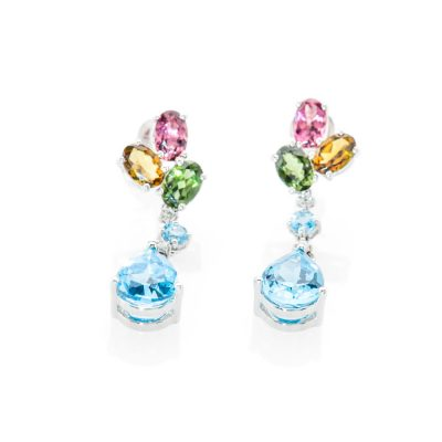 Gorgeous Enhanced Blue Natural Topaz Tourmaline And Diamond Drop Earrings - ER1461-3 Heidi Kjeldsen