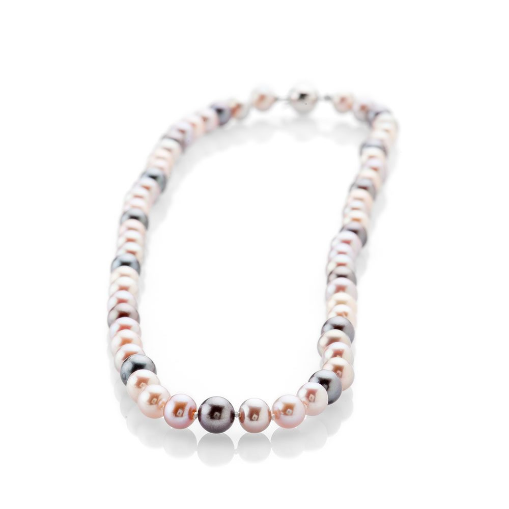 Lustrous Pink And Black Natural Cultured Pearl Necklace - NL1174-1 Heidi Kjeldsen