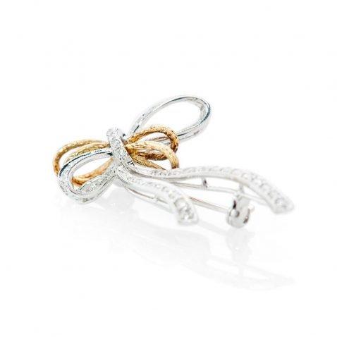 Shimmering Diamond Bow Brooch - BR0010-2 Heidi Kjeldsen