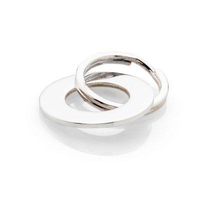 Sterling Silver hand forged circular keyring - KR0001-1