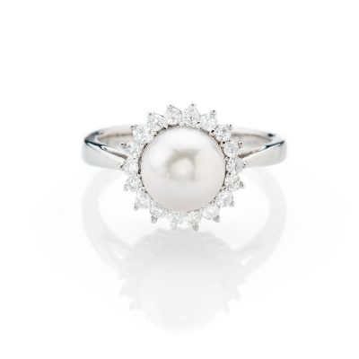 Stunning Natural Cutured Pearl And Diamond Dress Ring - R1336-1 Heidi Kjeldsen