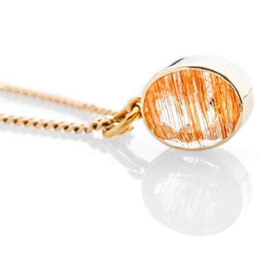 Stunning Natural Rutliated Quartz And Gold Pendant - P1243+Y9HC16-3 Heidi Kjeldsen